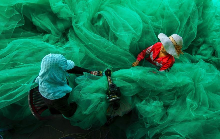Women Of A Small Village Near Vinh Hy Bay, Vietnam, Sew A Fishing Net While Their Husbands Fish, Vinh Hy Bay, Ninh Thuan, Vietnam Photo Contest