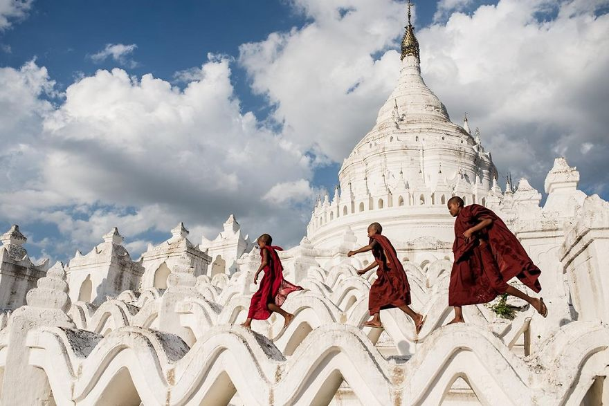 Young Buddhist Novices Play In Hsinbyume Pagoda, Mingun, Mandalay, Myanmar Photo Contest