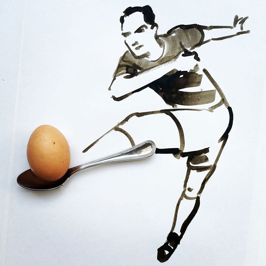 egg spoon Creative Drawing