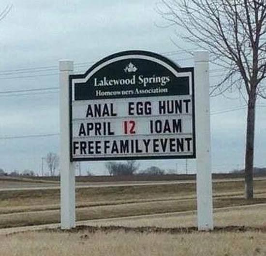 ANAL EGG HUNT Funny Sign
