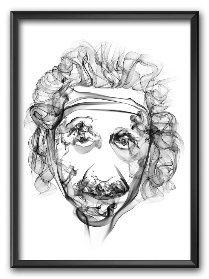 Albert Einstein Smoke Poster