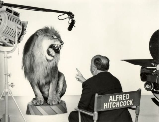 Alfred Hitchcock getting the famous lion shot Rare Photos