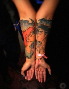 Animated kiss Couple Tattoos