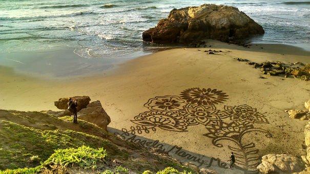 Sand art on beach proposal Wedding Proposal
