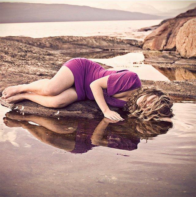 Beautiful Purple Lady Water Reflections