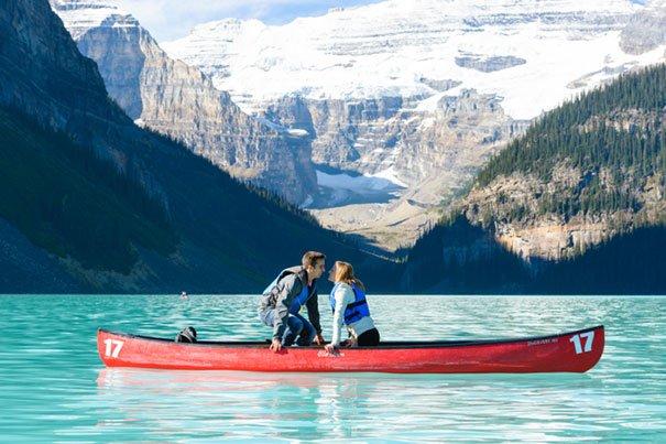 Beautiful lake, boat proposal Wedding Proposal