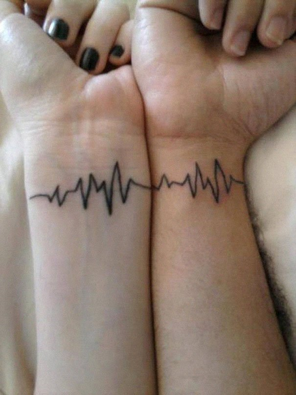 Both heart beats for each other Couple Tattoos