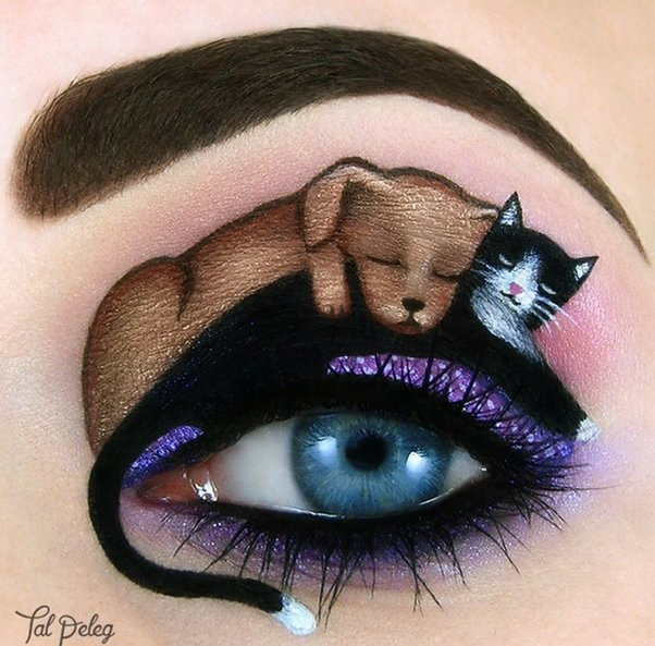 Cats and dogs together, deep meaning art actually Eye Makeup