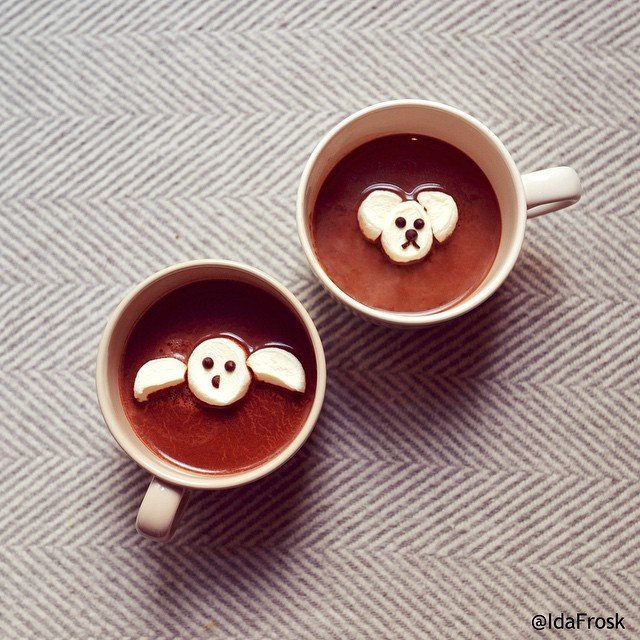 Chocolate Drinks with animals Food Art