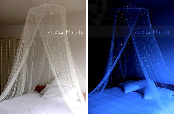 Glow In The Dark Starry Bed Canopy Beautiful Galaxy