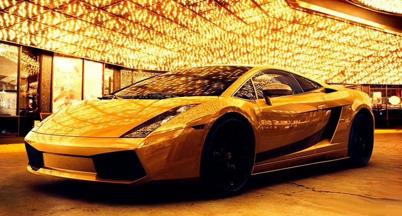 Gold Plated Sports Car Available at every road Crazy Dubai