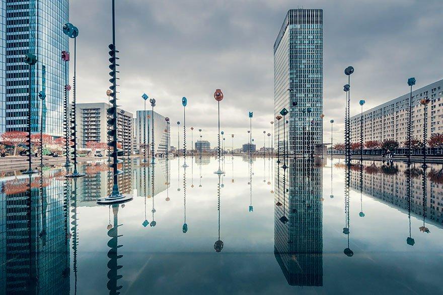 La Defense, Paris Water Reflections