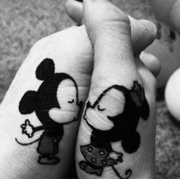 Mickie and Minnie Kisses Couple Tattoos