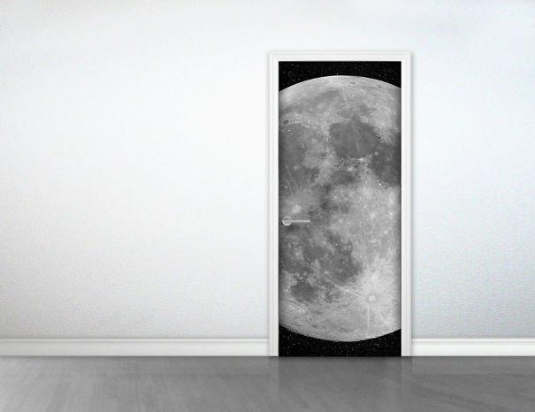 Moon Door Sticker Beautiful Galaxy