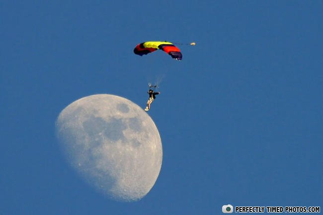 Moon Landing Perfectly Timed Photos
