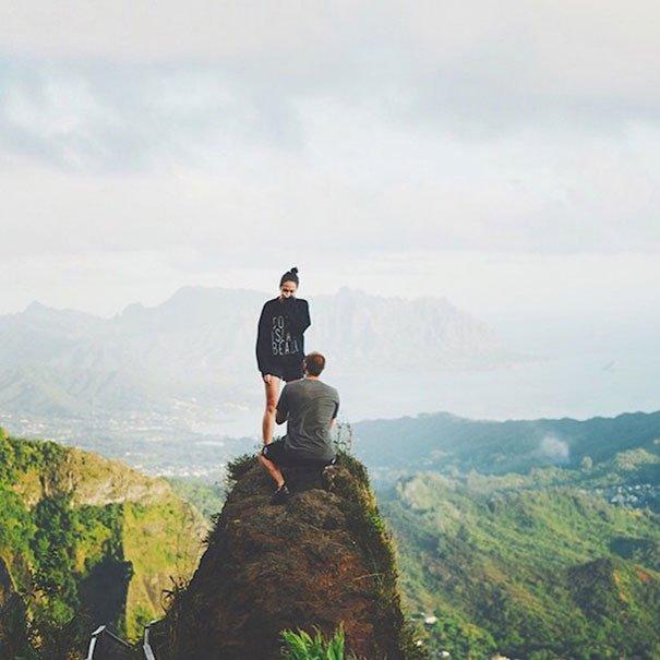 Mountain top proposal Wedding Proposal