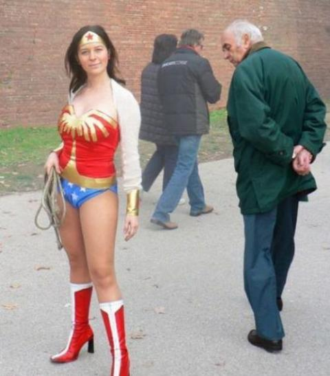 Old man staring at Wonder Woman Funny Photobombs