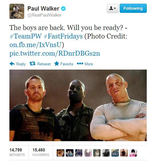 Paul Walker (car crash) Last Tweets