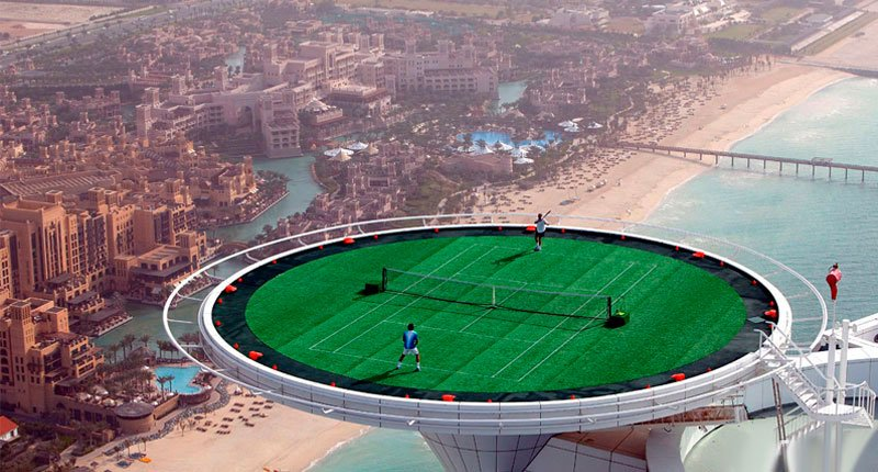 Play Tennis on Top of the building Crazy Dubai