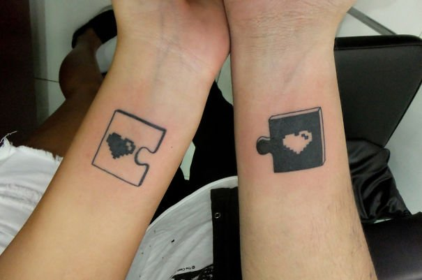 Puzzle of heart Couple Tattoos