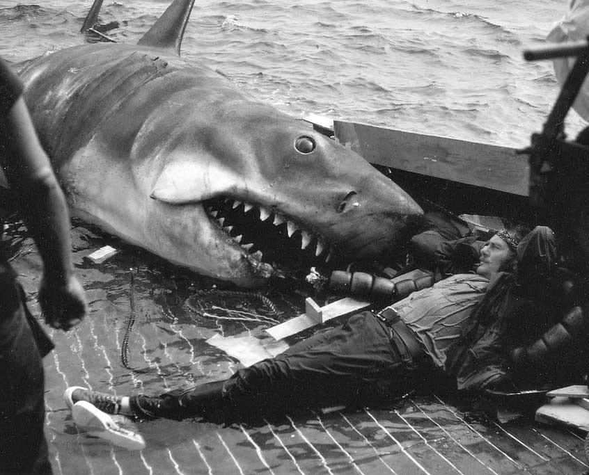 Robert Shaw on the set of Jaws Rare Photos