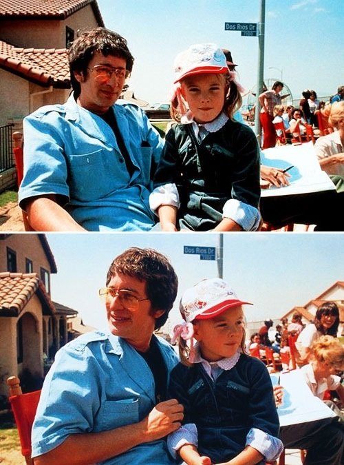 Steven Spielberg and Drew Barrymore on set of E.T Rare Photos