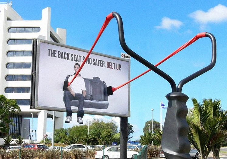 The Back Seat's no safer. Belt up Activism Ads