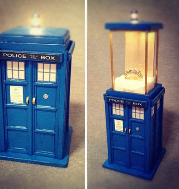 Wedding ring in a magic box Wedding Proposal