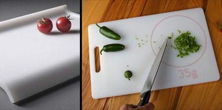 Weight-measuring chopping board Cool Inventions