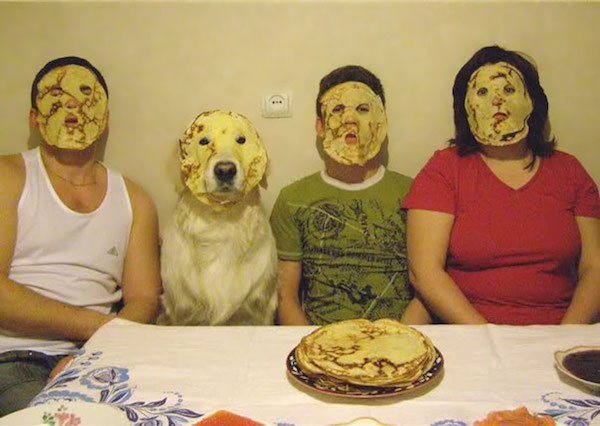 pancake faces, family portrait Pet and Owners