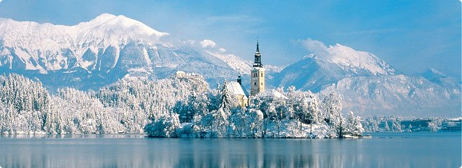 Amazing ski holiday place Lake Bled of Slovenia