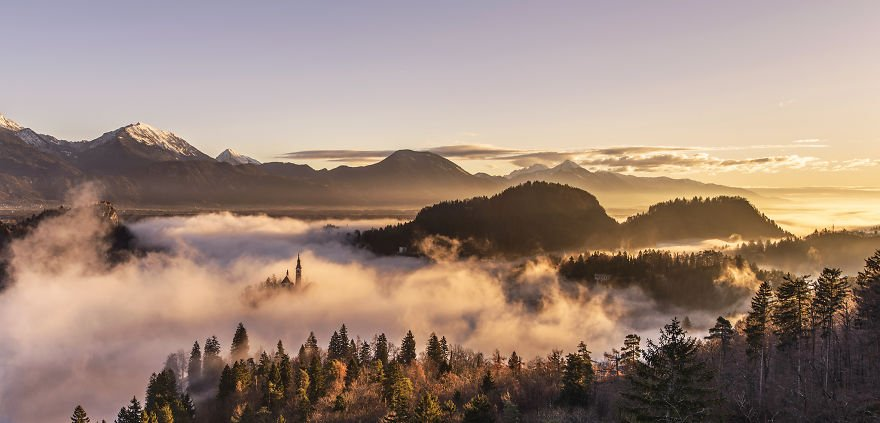 Awesome Sunrise Lake Bled of Slovenia