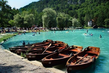 Boats are waiting for you Lake Bled of Slovenia