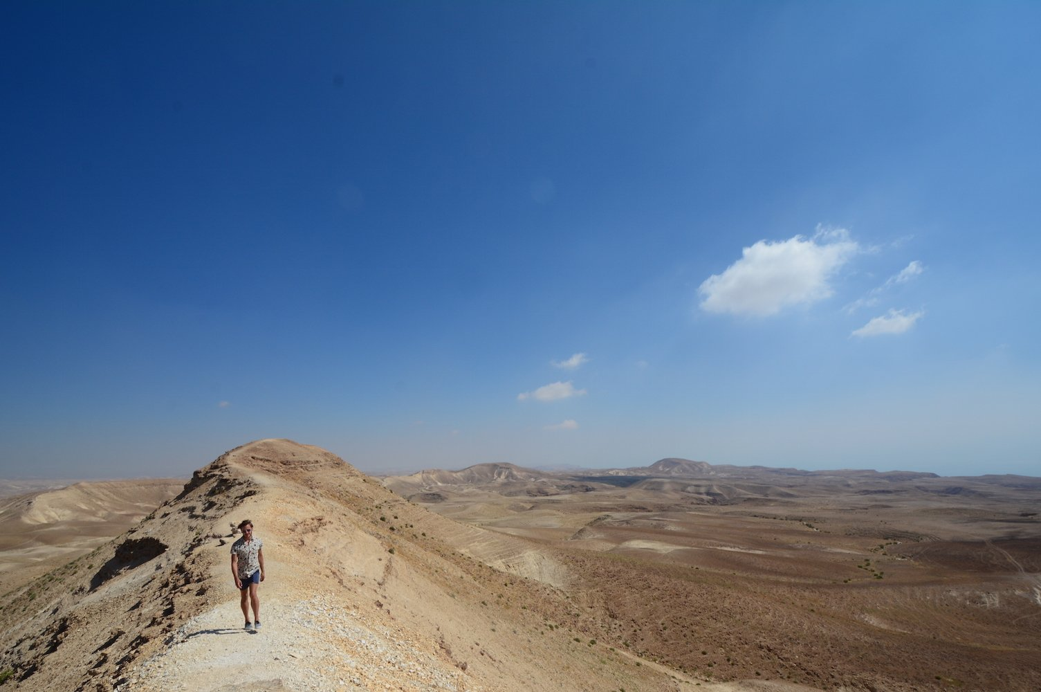 Hiking on a mountain drive at Judean desert Beautiful Israel