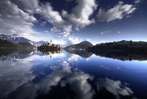 Mind blowing cloud covers Lake Bled of Slovenia
