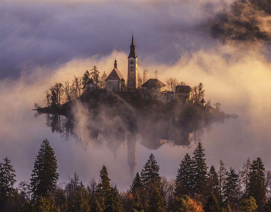 Misty Morning Lake Bled of Slovenia
