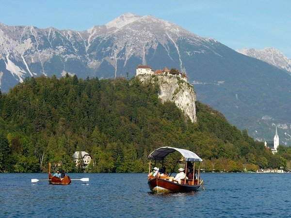 Serene boat ride Lake Bled of Slovenia