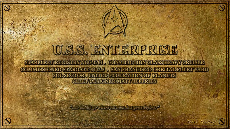 Star Trek The Original Series Secrets - Enterprise Plaque