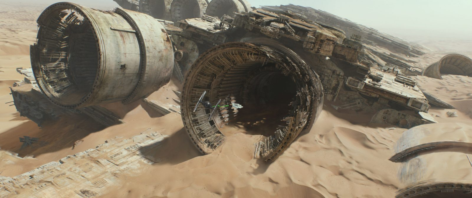 Star Wars VII The Force Awakens 19 - TIE Fighter chases Millennium Falcon into old starship