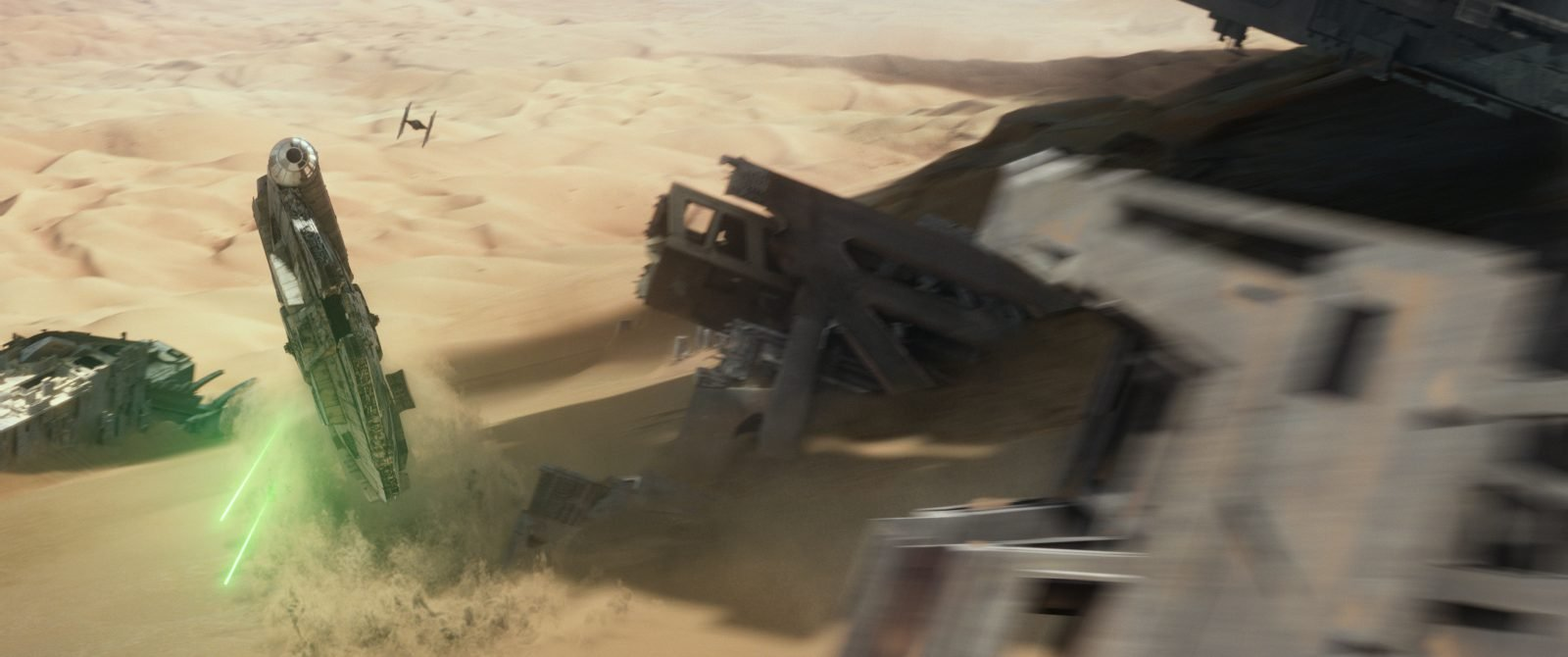Star Wars VII The Force Awakens 20 - TIE Fighter chases Millennium Falcon