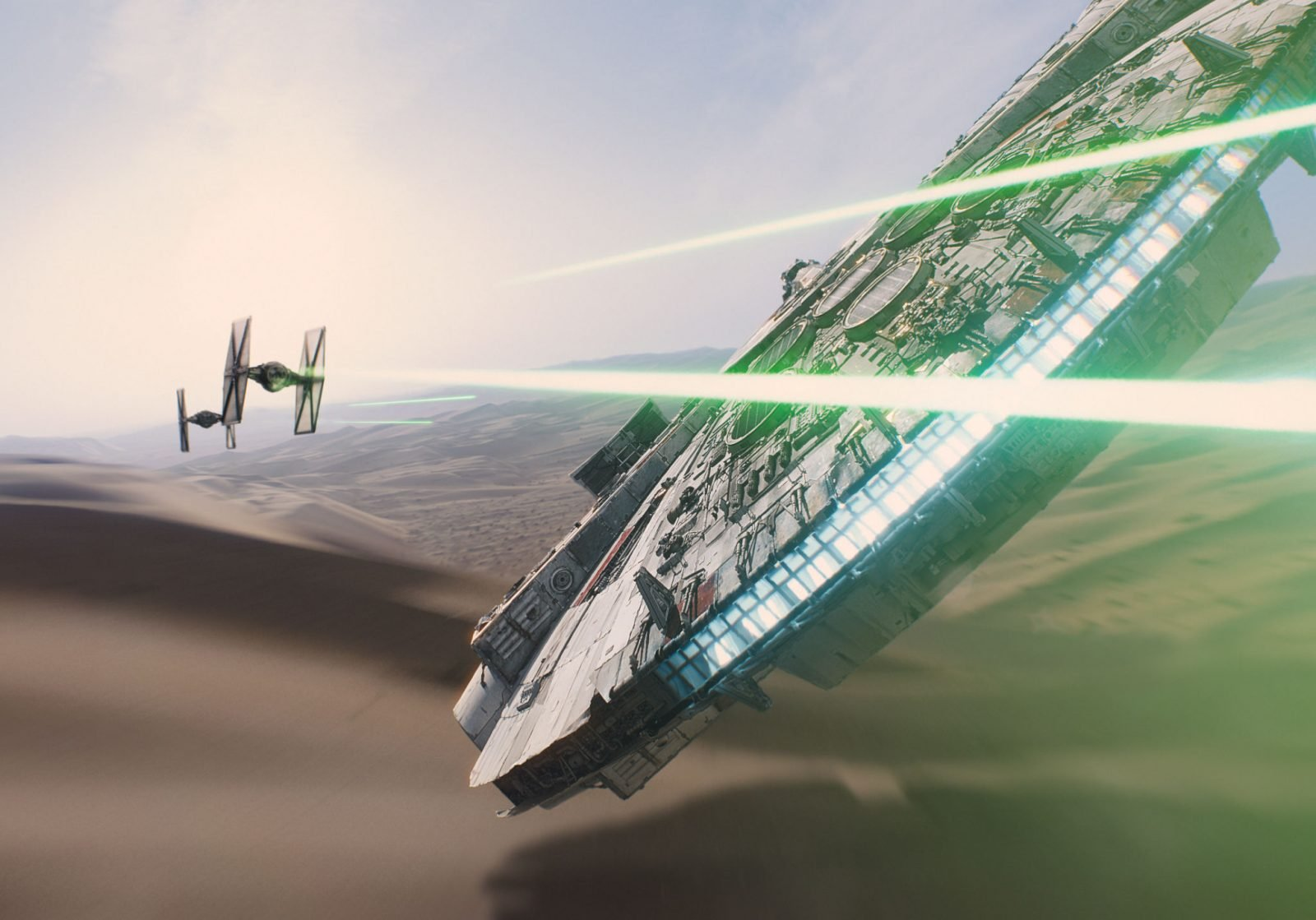 Star Wars VII The Force Awakens 42 - The Millennium Falcon battle with TIE fighters